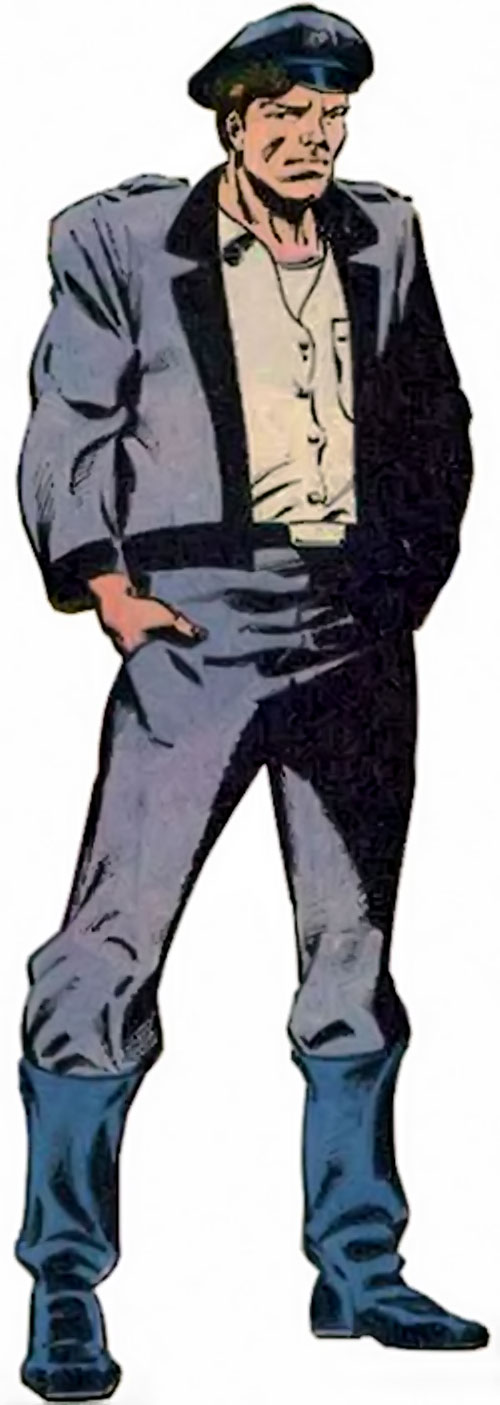 Rick Flag of the Suicide Squad (post-Crisis DC Comics) with a blue surplus uniform