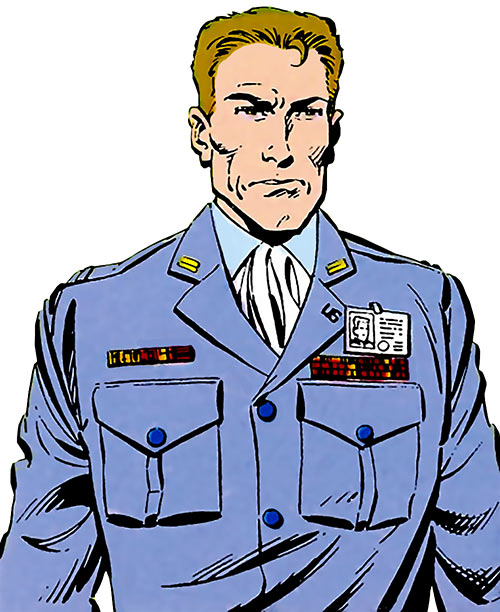 Rick Flag of the Suicide Squad (post-Crisis DC Comics) in a blue uniform