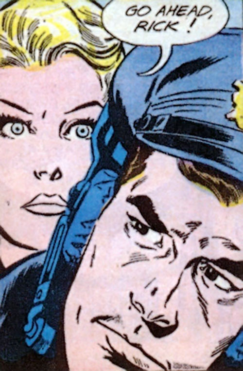 Rick Flag of the Suicide Squad (Pre-Crisis DC Comics) face closeup with Karin Grace