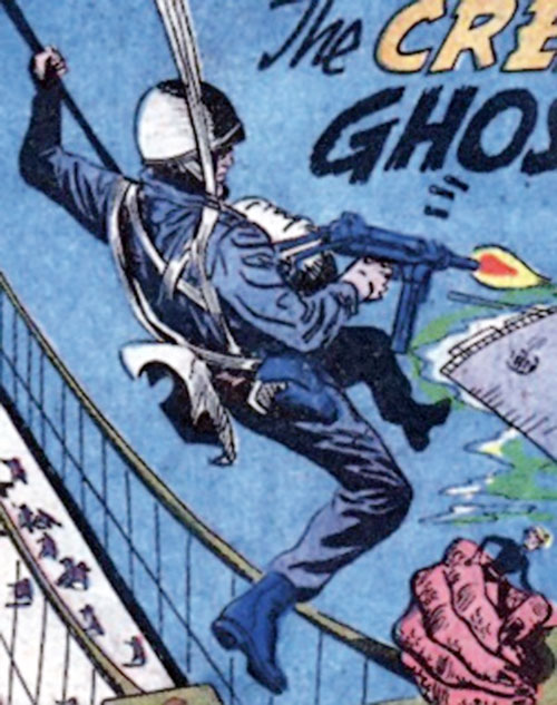 Rick Flag of the Suicide Squad (Pre-Crisis DC Comics) parachuting and shooting