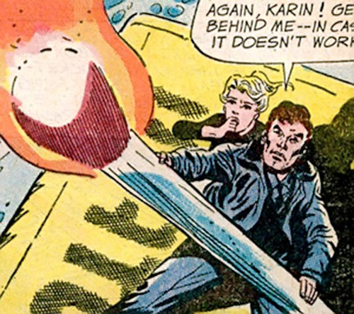 Rick Flag of the Suicide Squad (Pre-Crisis DC Comics) and Karin Grace with a giant match