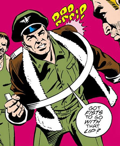 Rick Flag Sr. (Suicide Squad of World War 2) (DC Comics) (War that Time Forgot) ripping off his rank insignia