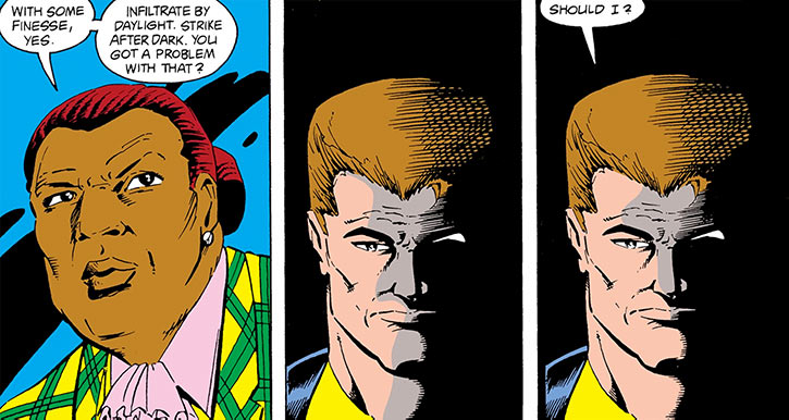 Rick Flag, Jr. facing Amanda Waller