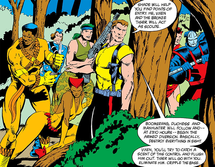 Rick Flag, Jr. and the Suicide Squad in a forest