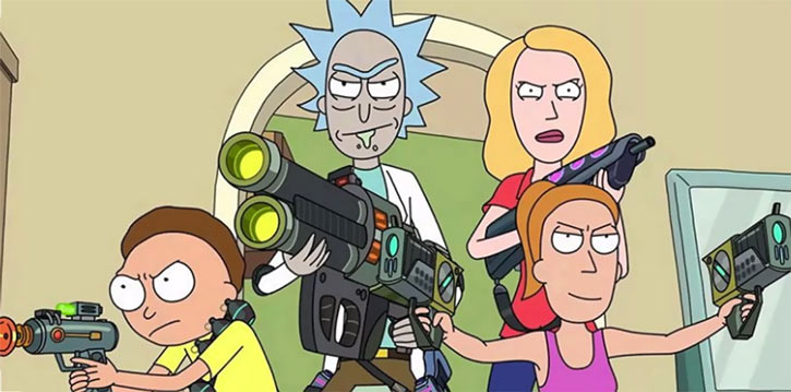 Rick Sanchez (Rick & Morty) with his well-armed family