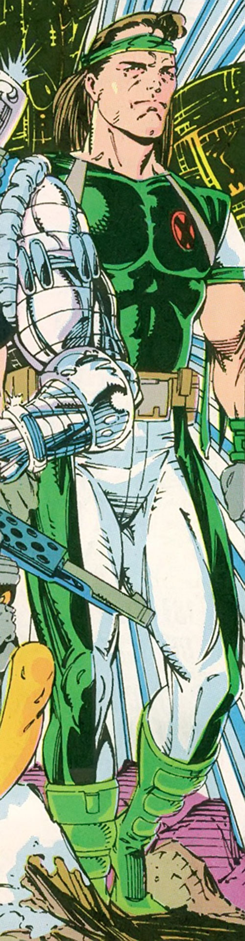 Rictor of X-Force (Marvel Comics) in a later version the green and white costume