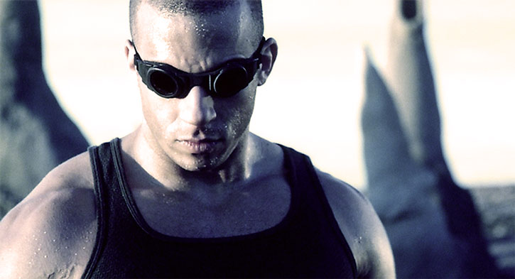 Riddick with his goggles