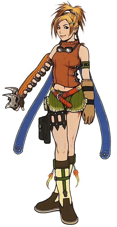 Rikku (Final Fantasy X) with clawed weapon and arm protection