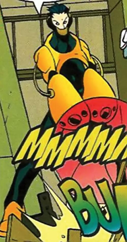 Riot of Heavy Mettle (New Warriors enemy) (Marvel Comics) blasting the floor