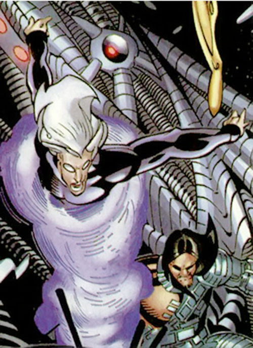 Riptide and Scalphunter of the Marauders (X-Men enemy) (Marvel Comics) among high-tech cables