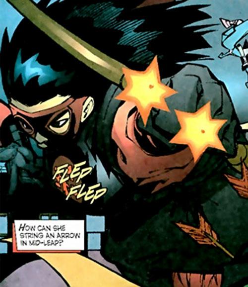 Rising Sun Archer (Robin enemy) (DC Comics) shooting a pair of arrows