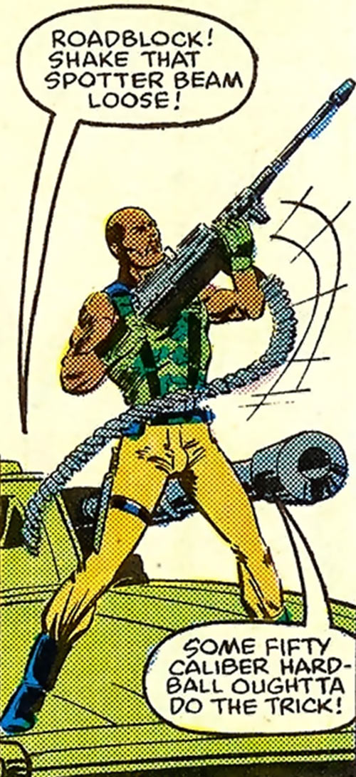 Roadblock (Marvel Comics GI Joe) raising his machinegun