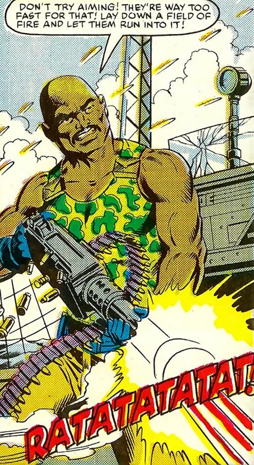 Roadblock (Marvel Comics GI Joe) laying down fire