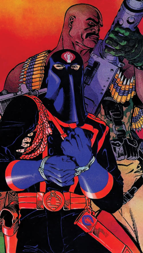 Roadblock (Marvel Comics GI Joe) and a captured Cobra Commander