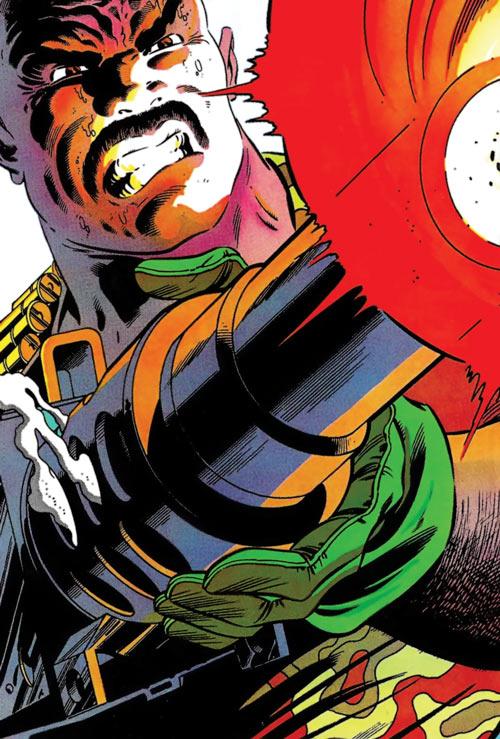 Roadblock (Marvel Comics GI Joe) face closeup, shooting