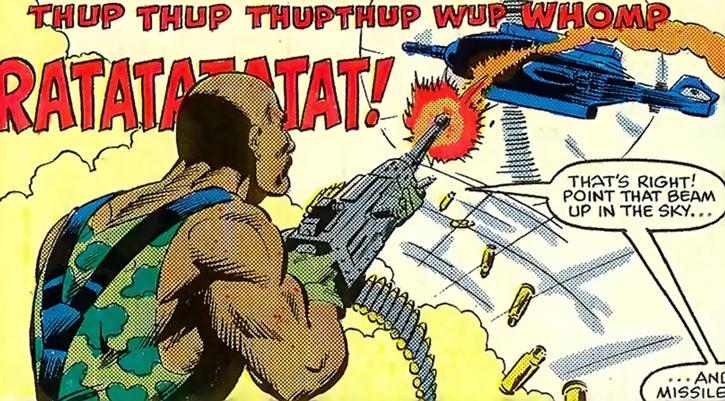 Roadblock (Marvel Comics GI Joe) shooting at an helicopter