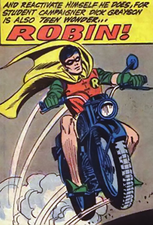 Robin (Dick Grayson) (DC Comics) in 1972 - on his motorbike