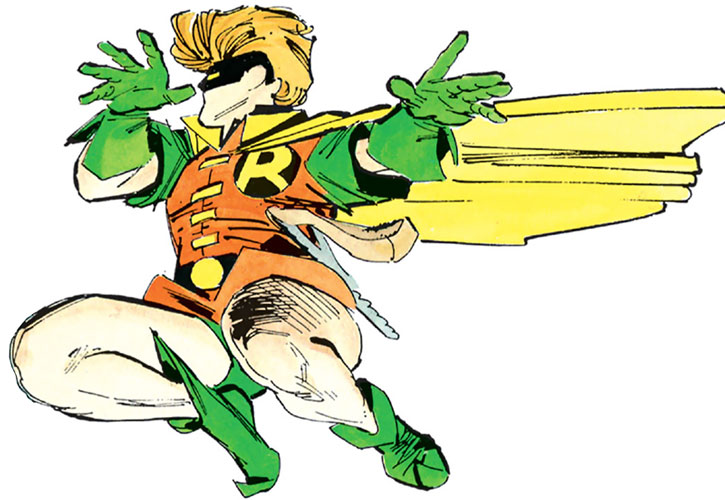 Robin (Carrie Kelley) leaping sideways over a white background