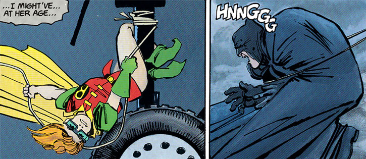 Robin (Carrie Kelley) lassoes Batman from the wheel of an helicopter