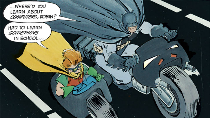 Robin (Carrie Kelley) in Batman's side car