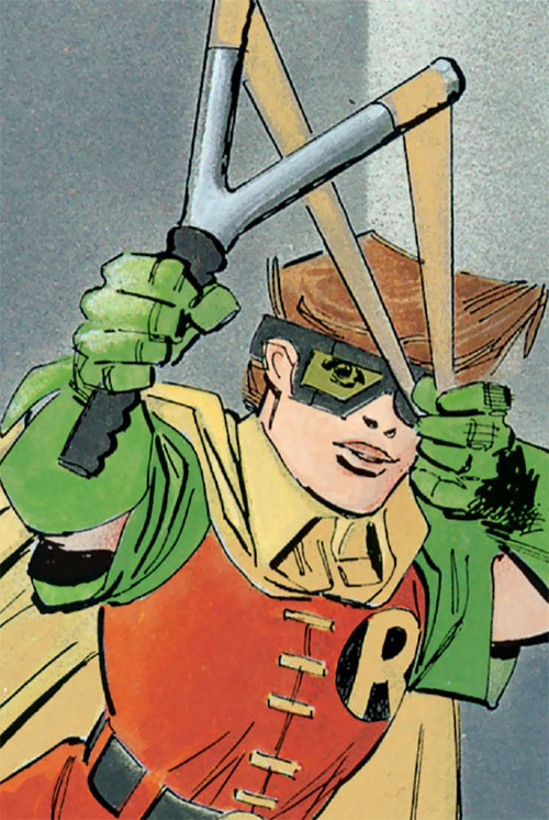 Robin (Batman Dark Knight returns) (Carrie Kelley) (DC Comics) aiming her slingshot