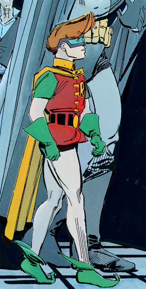 Robin (Batman Dark Knight returns) (Carrie Kelley) (DC Comics) walking along with Batman