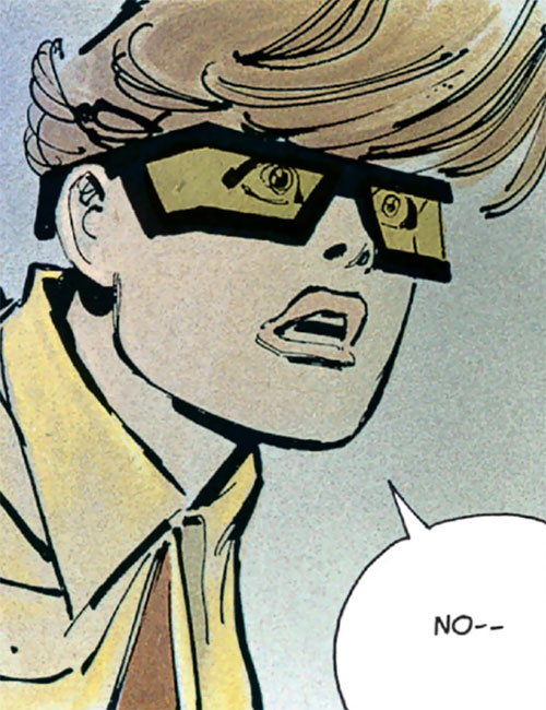 Robin (Batman Dark Knight returns) (Carrie Kelley) (DC Comics) horrified face closeup