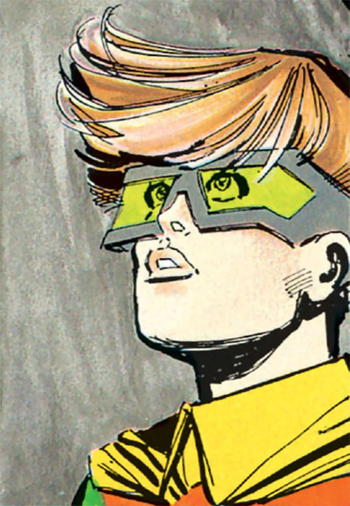 Robin (Batman Dark Knight returns) (Carrie Kelley) (DC Comics) face closeup looking up