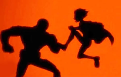 Robin (Teen Titans animated series) in silhouette, fighting