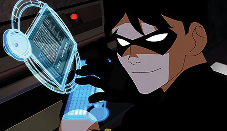 RObin using his wrist computer to hack