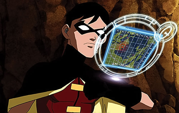 Robin viewing a map from his wrist computer