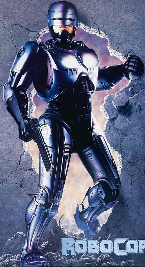 Robocop (Peter Weller) bursting through a wall