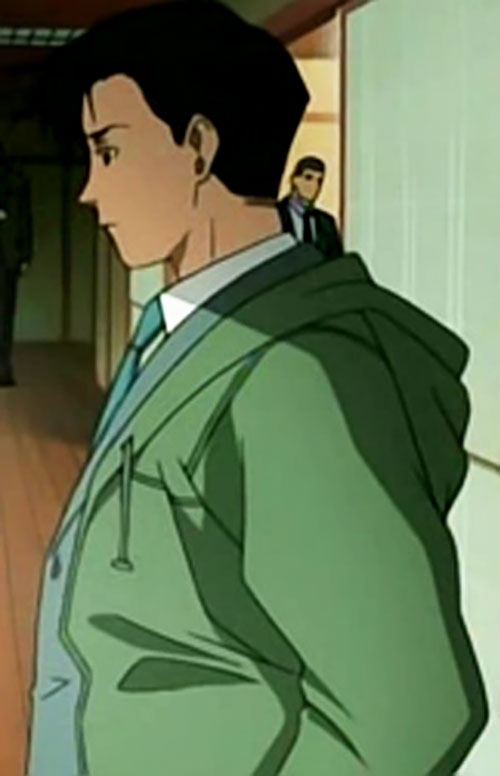 Rock from Black Lagoon in a suit and boating coat