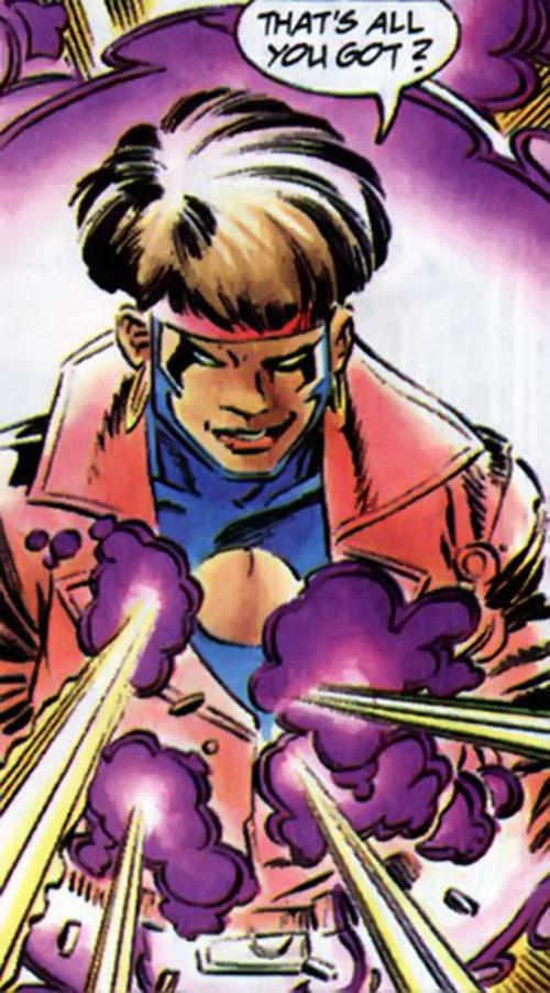 Rocket (Raquel Ervin) (Milestone Comics) ignoring gunshots