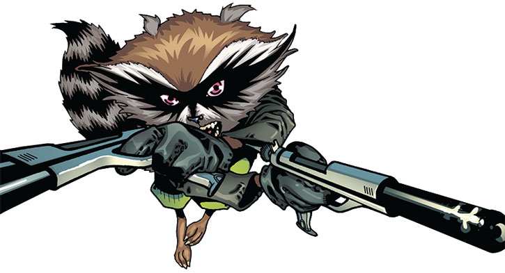 Rocket Raccoon with paired blasters of a white background