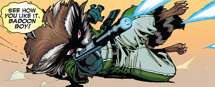 Rocket Raccoon firing his blaster on the floor