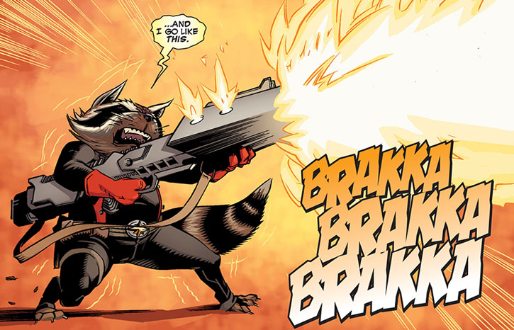 Rocket Raccoon firing a big gun