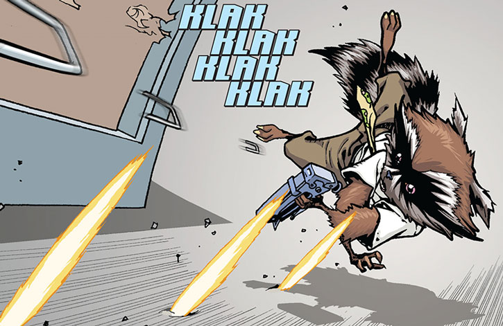 Rocket Raccoon firing a staple gun in an office gunfight