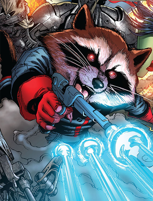 Rocket Raccoon (Marvel Comics) shooting blue laser pistol