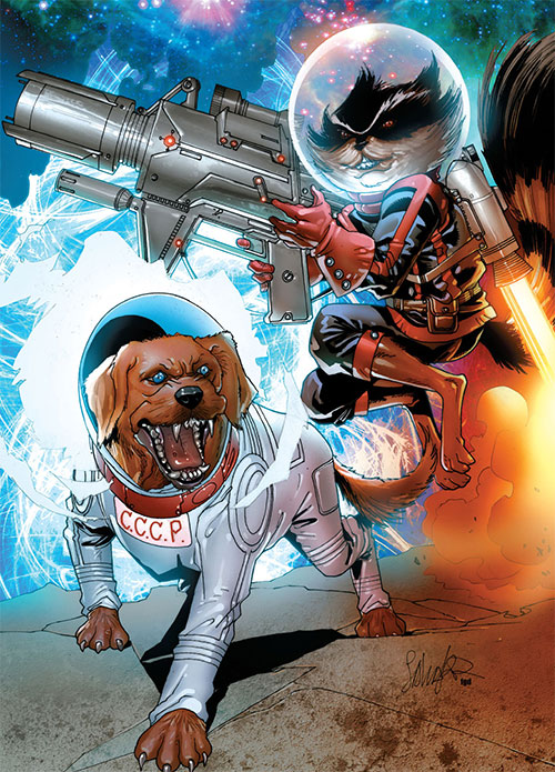 Rocket Raccoon (Marvel Comics) with jetpack and Cosmos