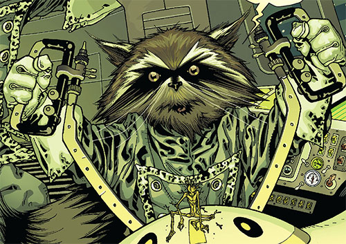 Rocket Raccoon (Marvel Comics) piloting cockpit