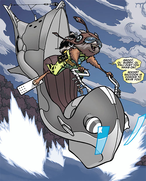 Rocket Raccoon (Marvel Comics) piloting a hovercycle