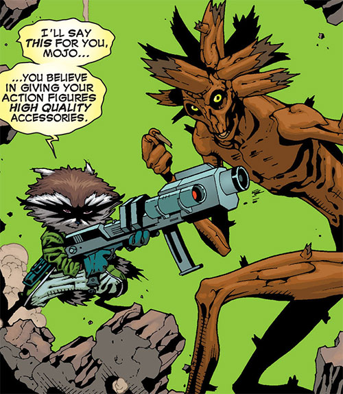 Rocket Raccoon (Marvel Comics) with Groot and a machinegun