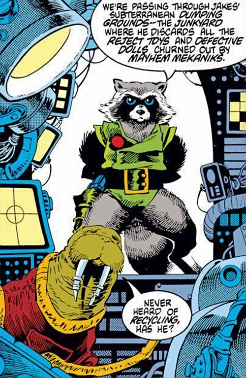 Rocket Raccoon (Marvel Comics) (Classic Mantlo) commanding his rocket