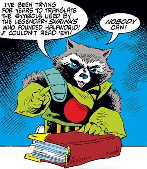 Rocket Raccoon (Marvel Comics) (Classic Mantlo) with a large book bible