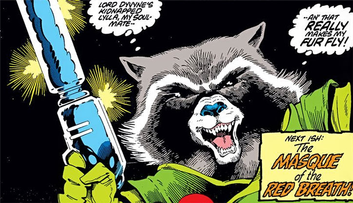 Rocket Raccoon angry face closeup