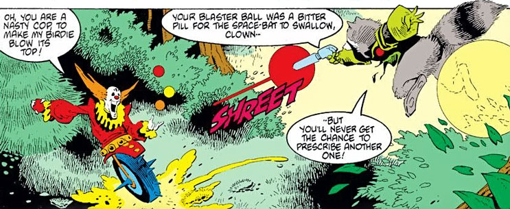Rocket Raccoon vs. a one-wheeled clown