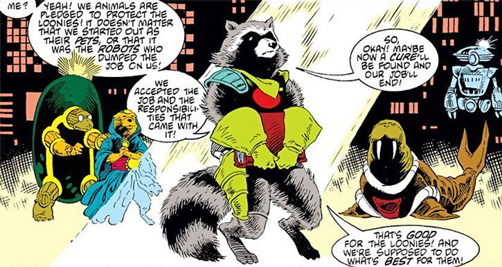 Rocket Raccoon holding the book of the Shrinks