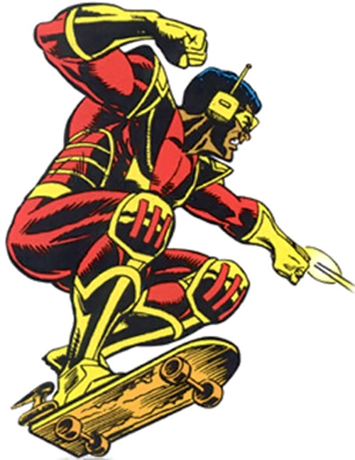 Rocket Racer (Spider-Man character) (Marvel Comics) using his board and mini-rockets