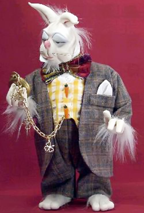 Rabbit man in a suit checking his pocket watch